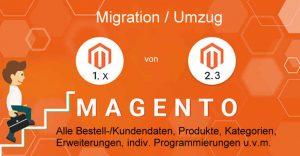 Magento Migration Hilfe von Hamburger eCommerce Agentur. Magento 2 Umstellung und Umzug/Migrierung aller relevanten Daten/Erweiterungen/Content/Produkte.