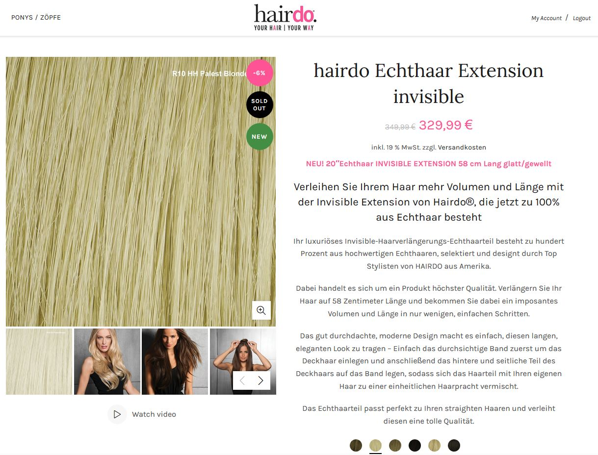 Konfigurierbares Produkt mit Haarfarben Auswahl mit Woocommerce