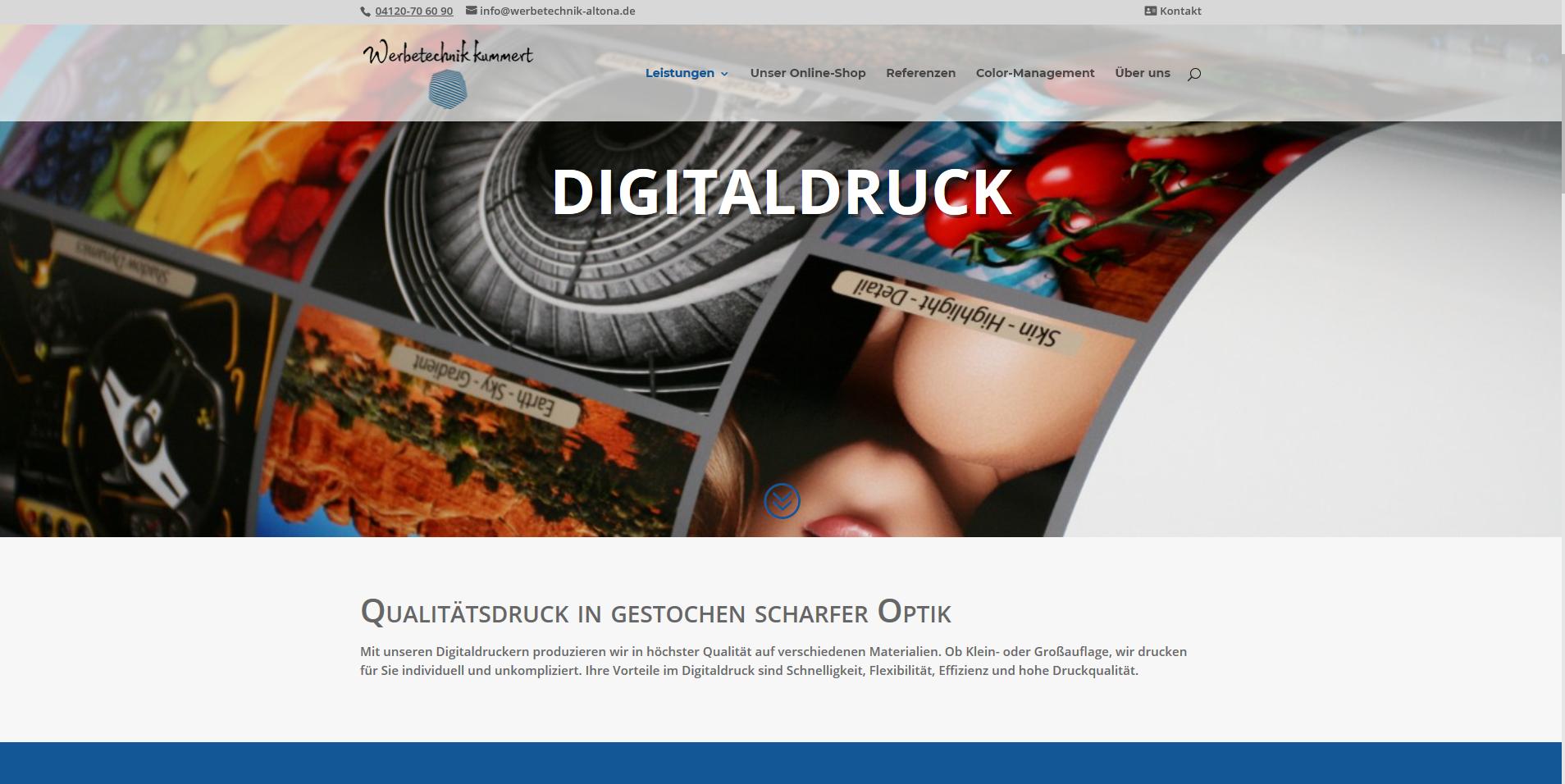 Wordpress Referenz Druckerei: Aufgeräumtes Design, starke Referenzbilder, klare Leistungsübersicht